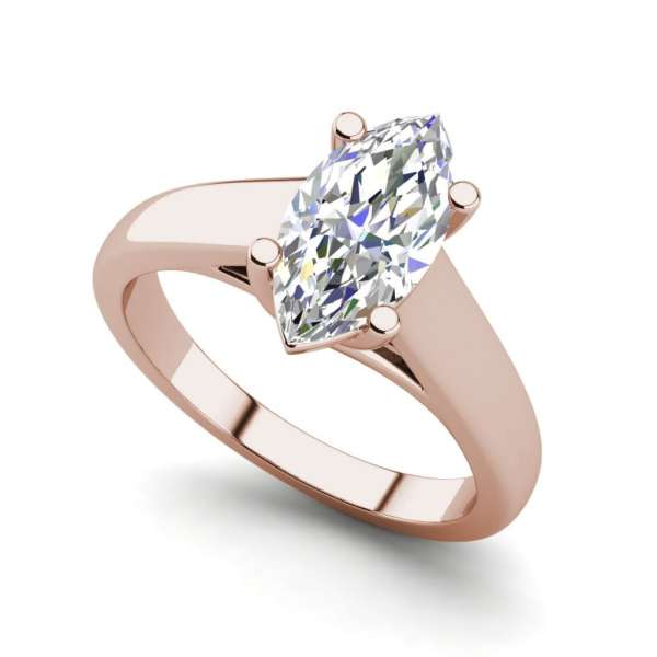 Solitaire 0.9 Carat VVS2 Clarity F Color Marquise Cut Diamond Engagement Ring Rose Gold
