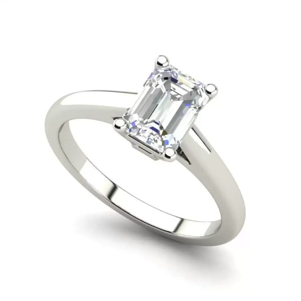 Solitaire 1.75 Carat VS2 Clarity F Color Emerald Cut Diamond Engagement Ring White Gold