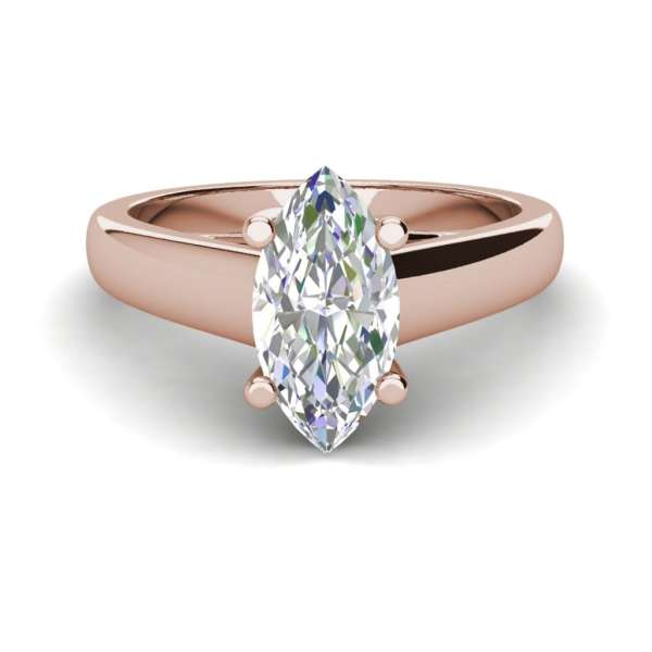 Solitaire 2 Carat SI1 Clarity D Color Marquise Cut Diamond Engagement Ring Rose Gold 3
