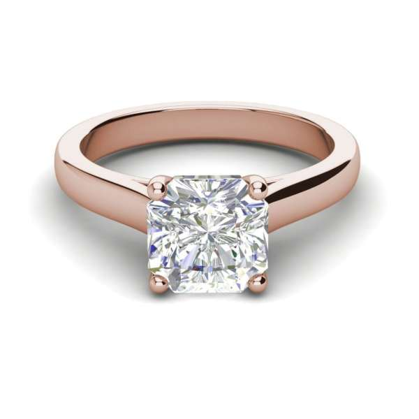 Solitaire 2.25 Carat VS1 Clarity H Color Cushion Cut Diamond Engagement Ring Rose Gold 3