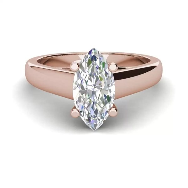 Solitaire 2.5 Carat VS2 Clarity D Color Marquise Cut Diamond Engagement Ring Rose Gold 3