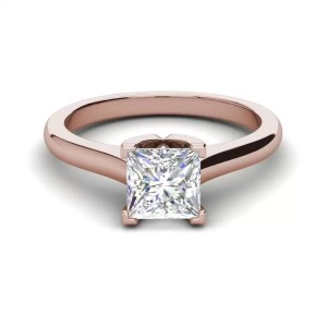 Solitaire 2.5 Carat VVS1 Clarity D Color Princess Cut Diamond Engagement Ring Rose Gold 3