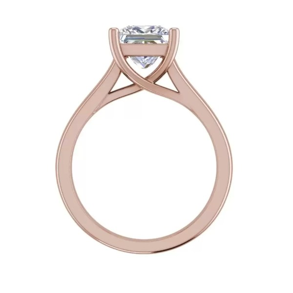 Solitaire 2.75 Carat SI1 Clarity F Color Princess Cut Diamond Engagement Ring Rose Gold 2