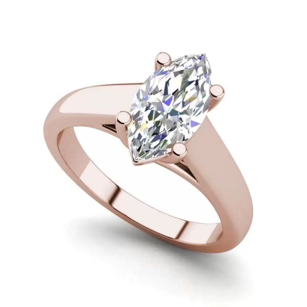 Solitaire 3 Carat VS2 Clarity H Color Marquise Cut Diamond Engagement Ring Rose Gold