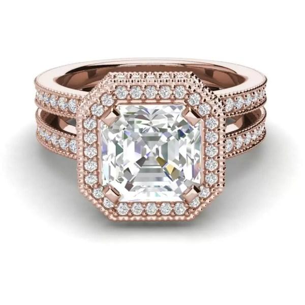 Split Shank Pave 1.75 Carat VS1 Clarity F Color Asscher Cut Diamond Engagement Ring Rose Gold 3