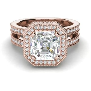 Split Shank Pave 1.75 Carat VS1 Clarity F Color Asscher Cut Diamond Engagement Ring Rose Gold 3