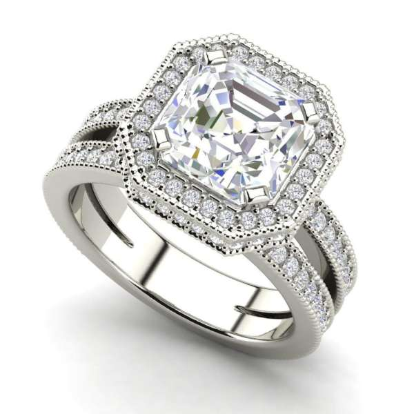 Split Shank Pave 2 Carat VS1 Clarity H Color Asscher Cut Diamond Engagement Ring White Gold