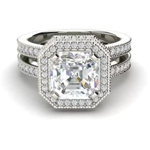 Split Shank Pave 2 Carat VVS1 Clarity D Color Asscher Cut Diamond Engagement Ring White Gold3