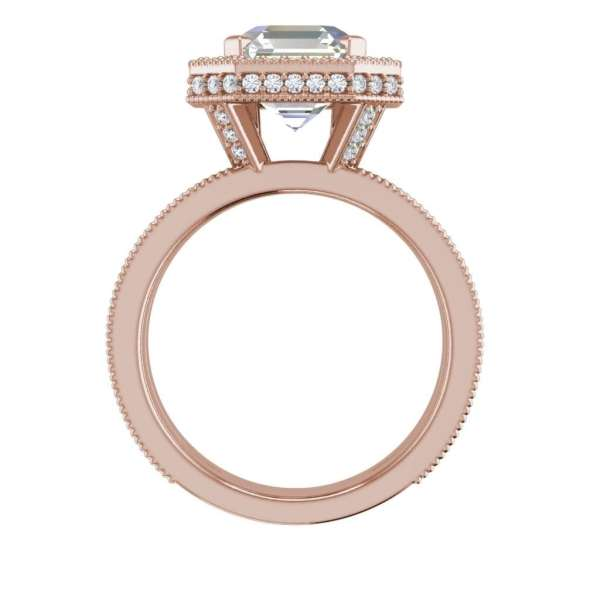 Split Shank Pave 2.75 Carat VS2 Clarity F Color Asscher Cut Diamond Engagement Ring Rose Gold 4