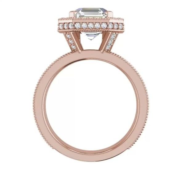 Split Shank Pave 3 Carat VVS1 Clarity D Color Asscher Cut Diamond Engagement Ring Rose Gold 4