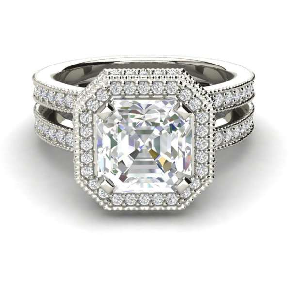 Split Shank Pave 3 Carat VVS1 Clarity D Color Asscher Cut Diamond Engagement Ring White Gold 3