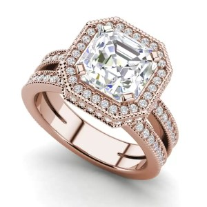 Split Shank Pave 3.25 Carat VS1 D Asscher Cut Diamond Engagement Ring Rose Gold