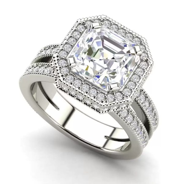 Split Shank Pave 3.25 Carat VS2 Clarity F Color Asscher Cut Diamond Engagement Ring White Gold