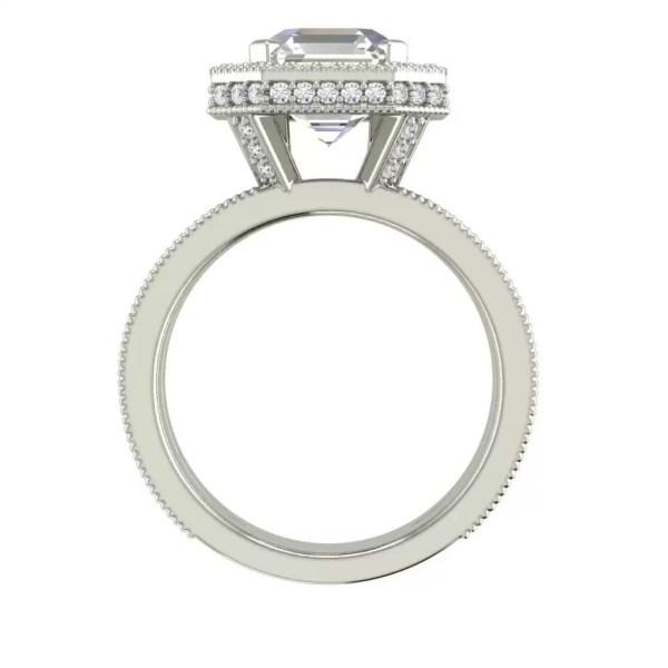 Split Shank Pave 3.5 Carat VS1 Clarity F Color Asscher Cut Diamond Engagement Ring White Gold 2