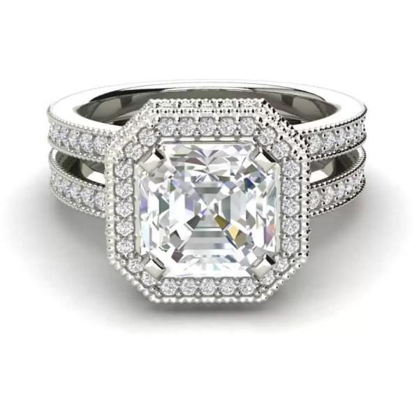 Split Shank Pave 3.5 Carat VS1 Clarity F Color Asscher Cut Diamond Engagement Ring White Gold 3
