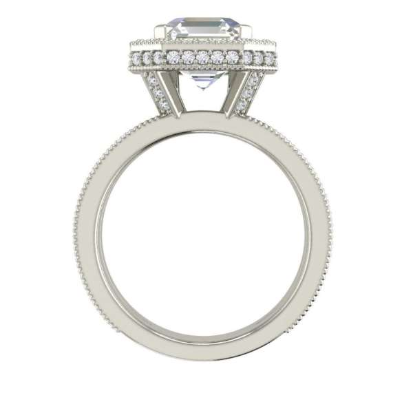 Split Shank Pave 4 Carat VS2 Clarity H Color Asscher Cut Diamond Engagement Ring White Gold 2