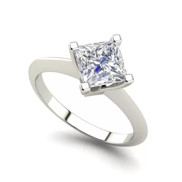 4 Prong 1 Carat VS2 Clarity D Color Princess Cut Diamond Engagement Ring White Gold