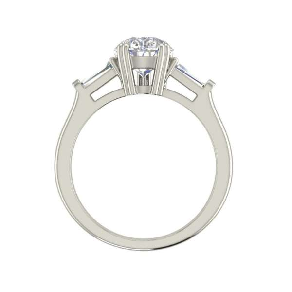 Baguette Accents 1 Ct VVS1 Clarity D Color Pear Cut Diamond Engagement Ring White Gold 2