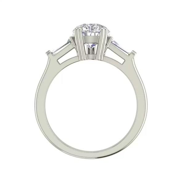 Baguette Accents 1.25 Ct VVS1 Clarity D Color Pear Cut Diamond Engagement Ring White Gold 2