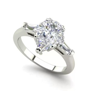 Baguette Accents 1.25 Ct VVS2 Clarity F Color Pear Cut Diamond Engagement Ring White Gold