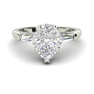 Baguette Accents 3 Ct SI1 Clarity D Color Pear Cut Diamond Engagement Ring White Gold 3