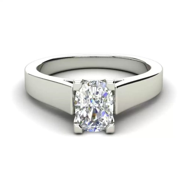 Cathedral 1.75 Carat VS2 Clarity H Color Oval Cut Diamond Engagement Ring White Gold 3