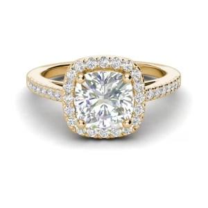 Halo 3.2 Carat VVS1 Clarity D Color Cushion Cut Diamond Engagement Ring Yellow Gold 3