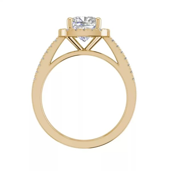 Halo 2.95 Carat VS2 Clarity H Color Cushion Cut Diamond Engagement Ring Yellow Gold 2