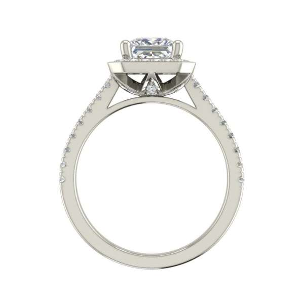 Halo Pave 2.95 Carat VS1 Clarity H Color Princess Cut Diamond Engagement Ring White Gold 2