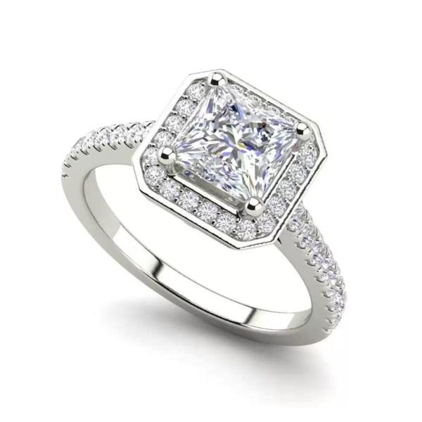 Halo Pave 2.95 Carat VS1 Clarity H Color Princess Cut Diamond Engagement Ring White Gold