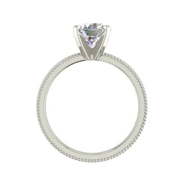 Milgrain Solitaire 0.75 Ct SI1 Clarity F Color Round Cut Diamond Engagement Ring White Gold 2
