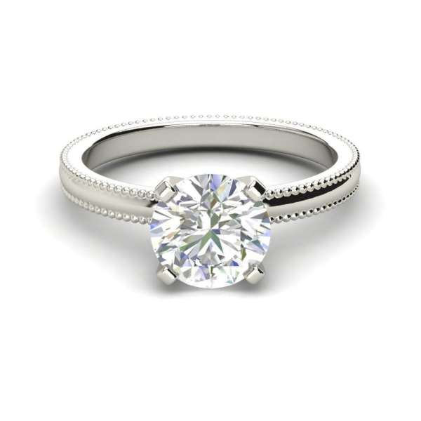 Milgrain Solitaire 0.75 Ct SI1 Clarity F Color Round Cut Diamond Engagement Ring White Gold 3