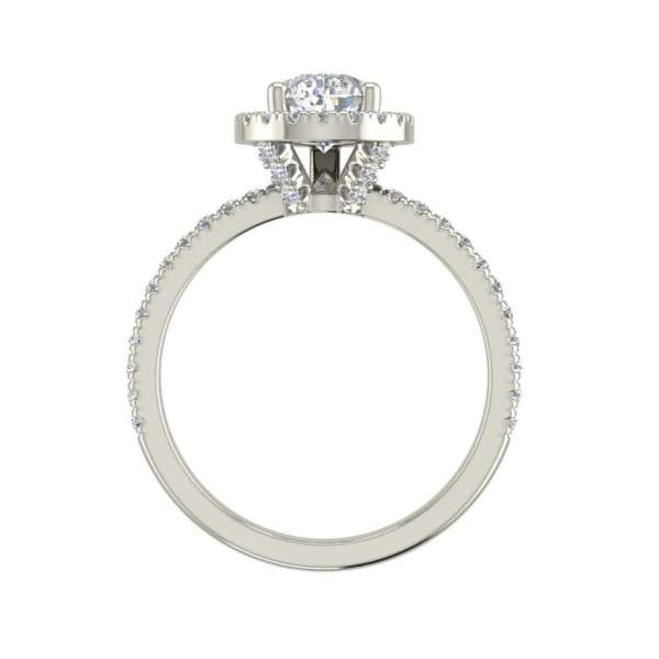 Pave Halo 1.7 Carat VS2 Clarity D Color Pear Cut Diamond Engagement Ring White Gold 2