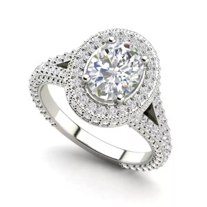 Pave Halo 2.1 Carat VS2 Clarity F Color Oval Cut Diamond Engagement Ring White Gold