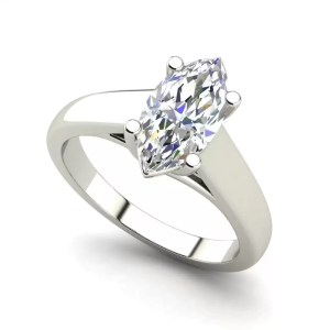 Solitaire 0.5 Carat VS2 Clarity H Color Marquise Cut Diamond Engagement Ring White Gold