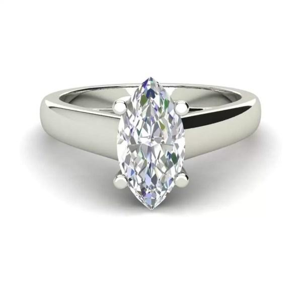 Solitaire 0.5 Carat VVS1 Clarity D Color Marquise Cut Diamond Engagement Ring White Gold 3