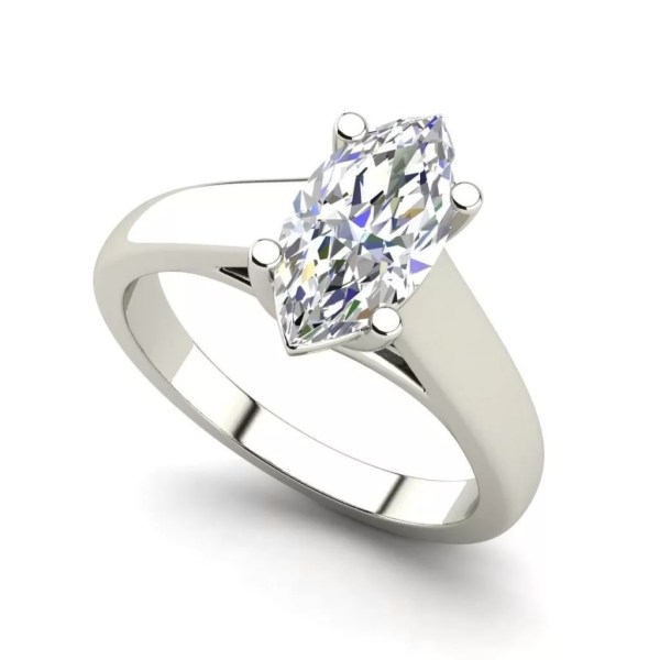 Solitaire 0.5 Carat VVS2 Clarity F Color Marquise Cut Diamond Engagement Ring White Gold