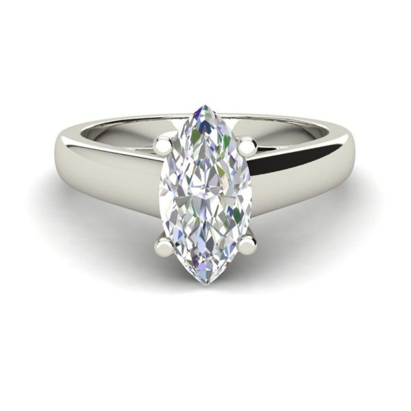 Solitaire 2.5 Carat SI1 Clarity F Color Marquise Cut Diamond Engagement Ring White Gold 3