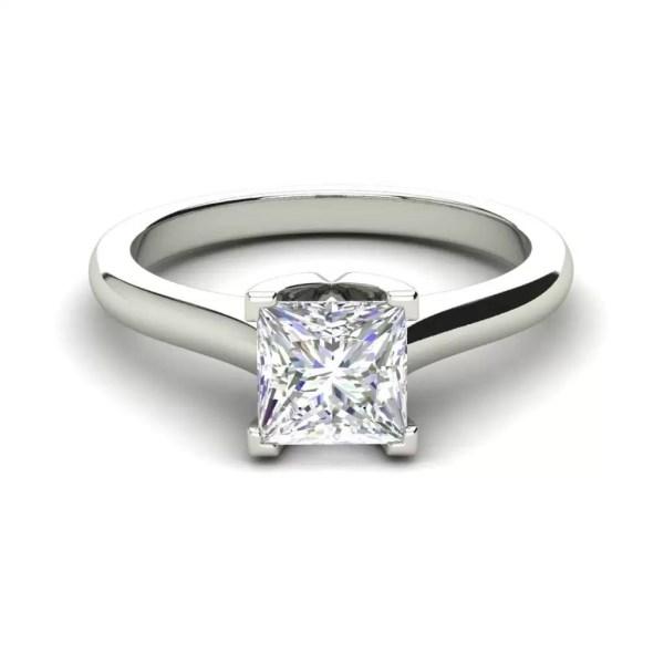 Solitaire 2.5 Carat VVS1 Clarity D Color Princess Cut Diamond Engagement Ring White Gold 3
