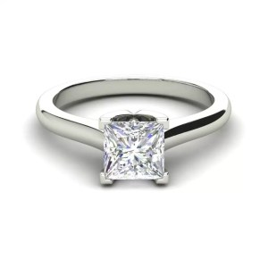 Solitaire 2.5 Carat VVS1 Clarity D Color Princess Cut Diamond Engagement Ring White Gold 3