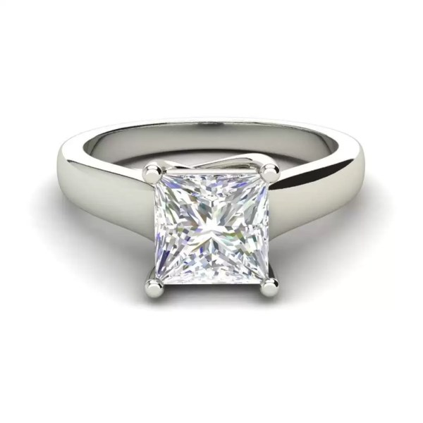 Solitaire 2.75 Carat SI1 Clarity F Color Princess Cut Diamond Engagement Ring White Gold 3