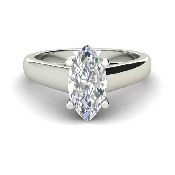 Solitaire 2.75 Carat VS1 Clarity F Color Marquise Cut Diamond Engagement Ring White Gold 3