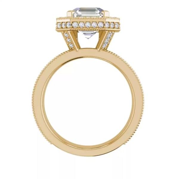 Split Shank 2.75 Carat VS2 Clarity F Color Asscher Cut Diamond Engagement Ring Yellow Gold 2