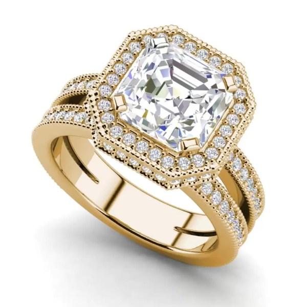 Split Shank 2.75 Carat VS2 Clarity F Color Asscher Cut Diamond Engagement Ring Yellow Gold