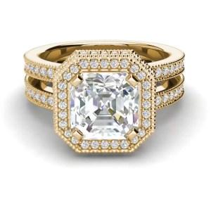 Split Shank 3.25 Carat VS2 Clarity F Color Asscher Cut Diamond Engagement Ring Yellow Gold 3