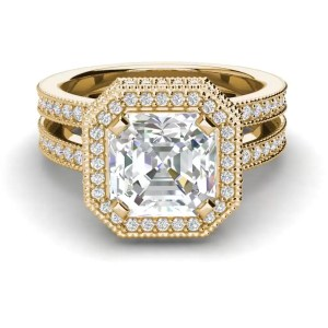 Split Shank 3.25 Carat VS2 Clarity F Color Asscher Cut Diamond Engagement Ring Yellow Gold 3