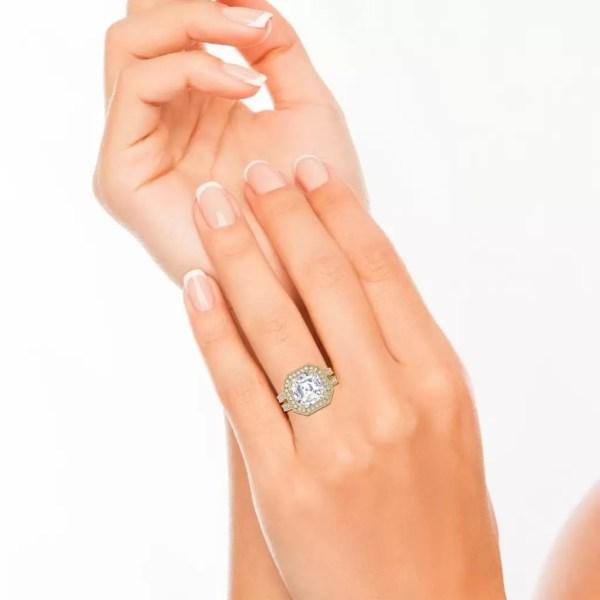 Split Shank 3.25 Carat VS2 Clarity F Color Asscher Cut Diamond Engagement Ring Yellow Gold 4