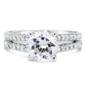2.2 Carat Round Cut Diamond Engagement Ring 14K White Gold 4