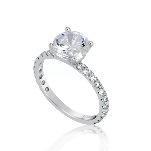 2.5 Ct Round Cut Vs1 Diamond Solitaire Engagement Ring 14K White Gold 3