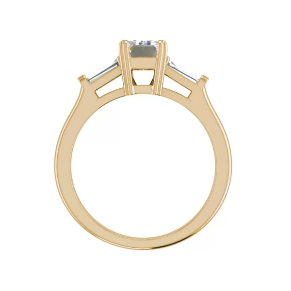 Baguette Accents 1.5 Ct VS2 Clarity F Color Emerald Cut Diamond Engagement Ring Yellow Gold 2